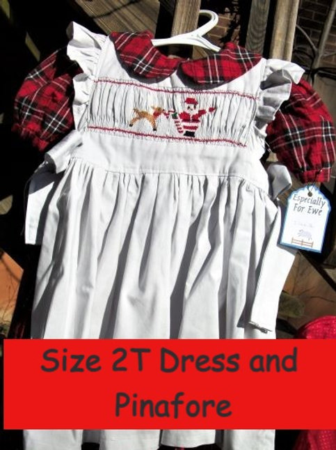 Lickety Christmas Pinafore and Plaid Dress, Size 2