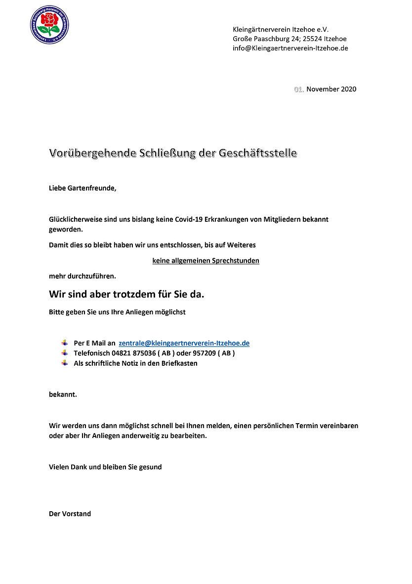Schließung der Geschäftsstelle Covid-19_