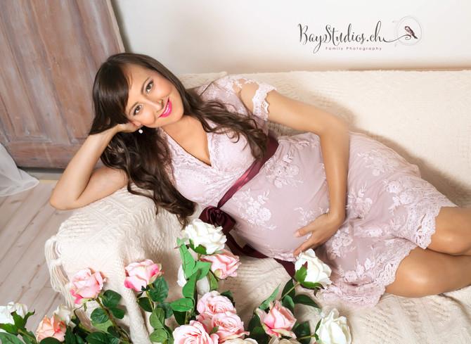Babybauch Vintage, floral Schwangerschaft Shooting Babybauchfotos