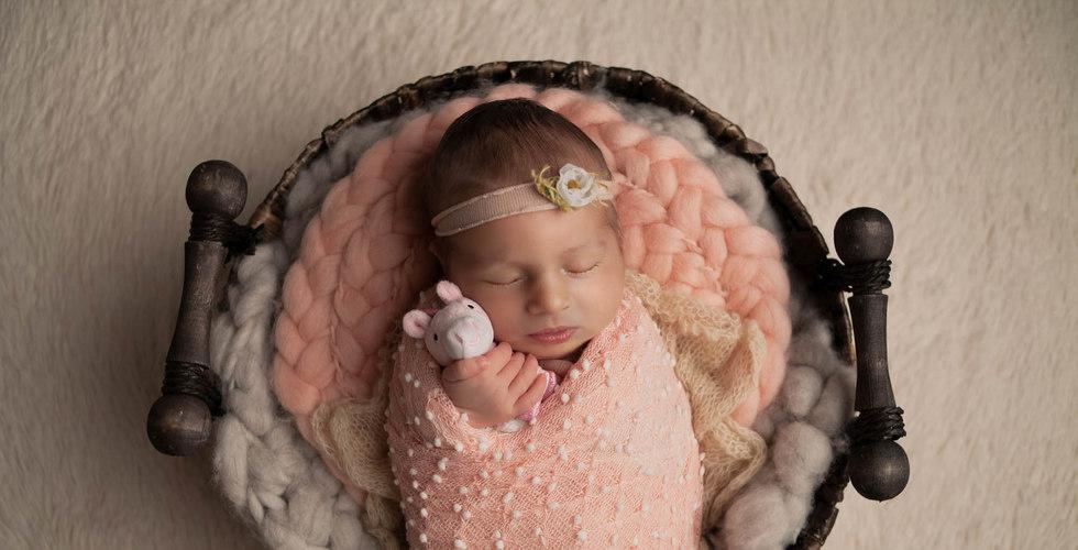 Baby mit Plüschtier im Fotoshooting