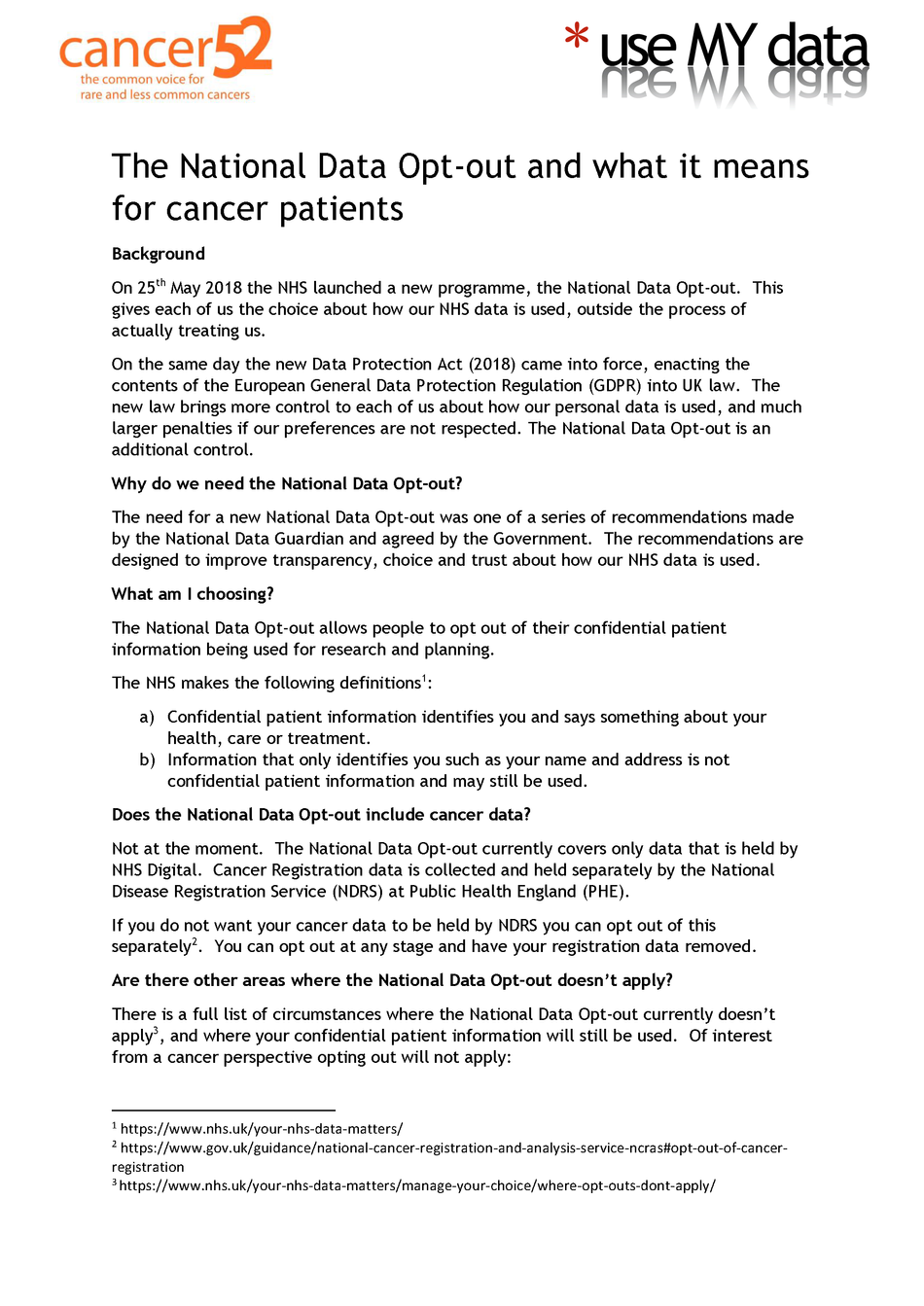 National Data Opt-out and what it means to cancer patients