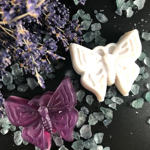 Duo Papillons savon et barre à massage Lavande