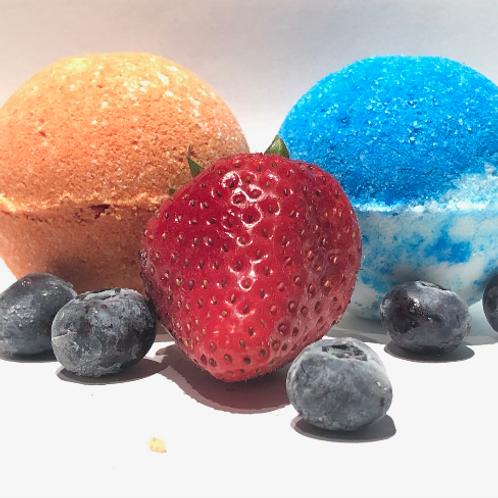 Bombes de bain en duo Barbe à papa et fraises & confitures de bleuets