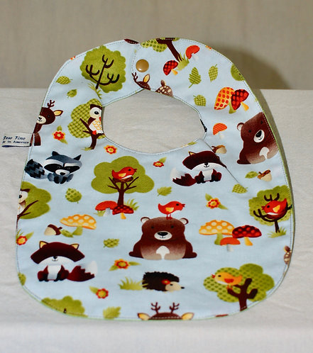 Baby Bib ~ Owl & Forest ~ Two Sided