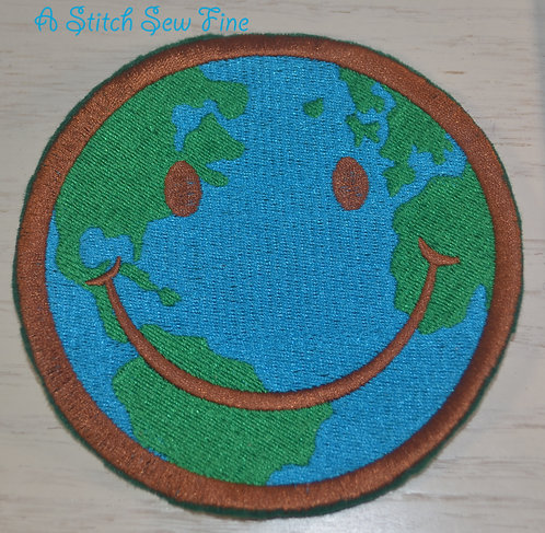 Iron On Patch - Happy Face Earth