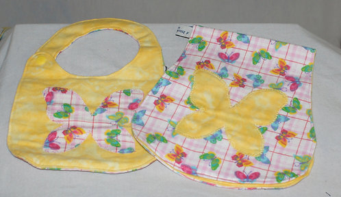Baby Soft Cotton Butterfly Bib and Burp Cloth
