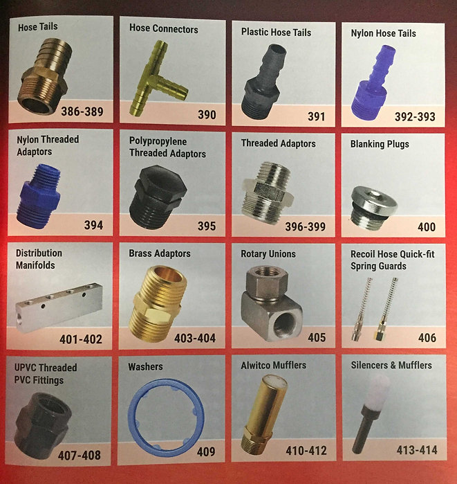 HOSE TAILS, ADAPTORS, threaded, blanking, nylon, plastic, brass, polypropylene, manifolds, rotary unions, rcoild hose, spring guards, upvc, washers, alwitco mufflers, silencers, mufflers, suttons