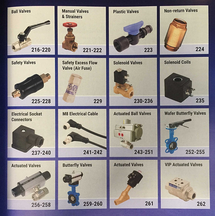 Ball valves, manual valves, strainders, plastic, non-return, safety, solenoid, coils, electrical, actuated, butterfly, Suttons