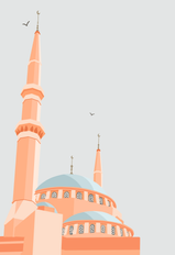 Beirut Mosque Illustration