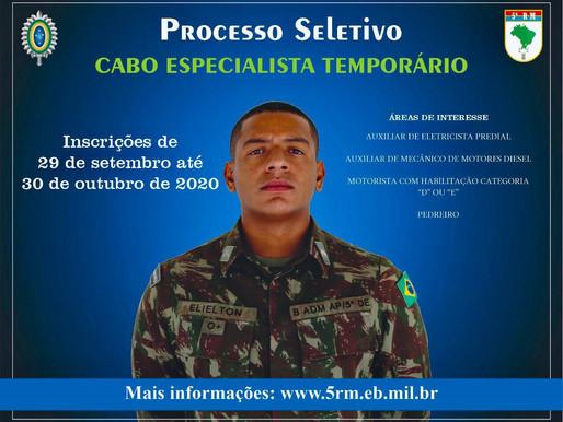 5ª Região Militar abre inscrições para seleção de Cabo Especialista Temporário