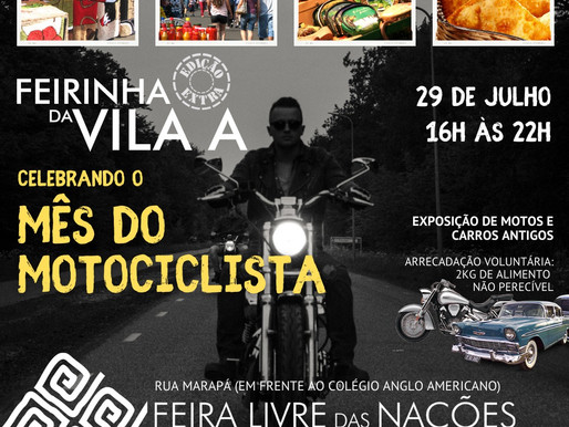 Feirinha da Vila terá edição especial nesta quinta-feira (29) em celebração ao Mês do Motociclista