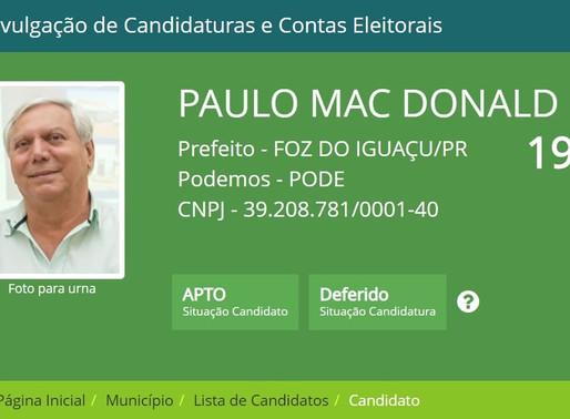 JUSTIÇA ELEITORAL CONFIRMA CANDIDATURA DE PAULO MAC DONALD