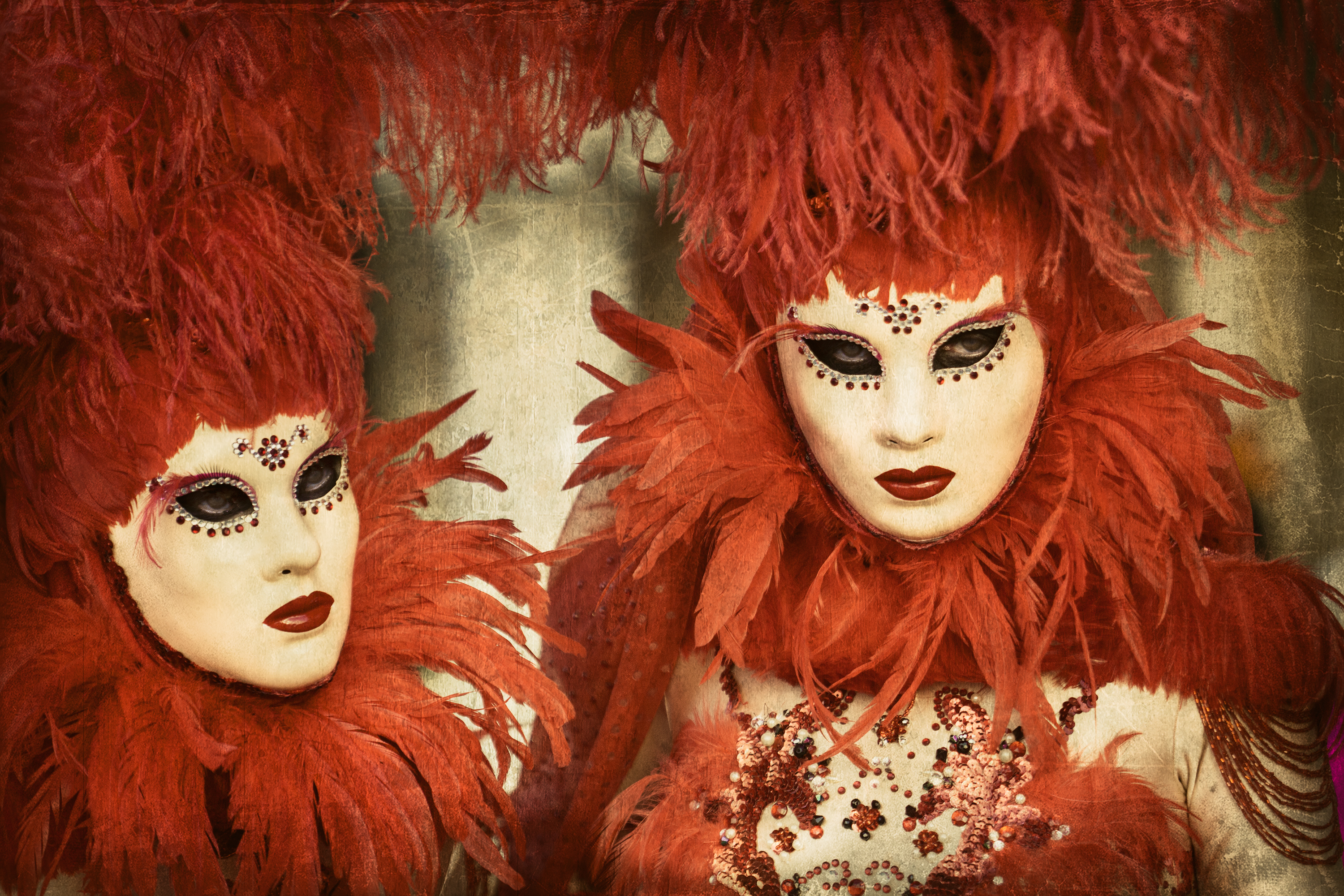 Performers Wearing Red Feathers