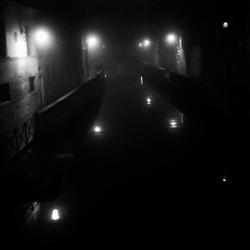 Canal in Night Fog