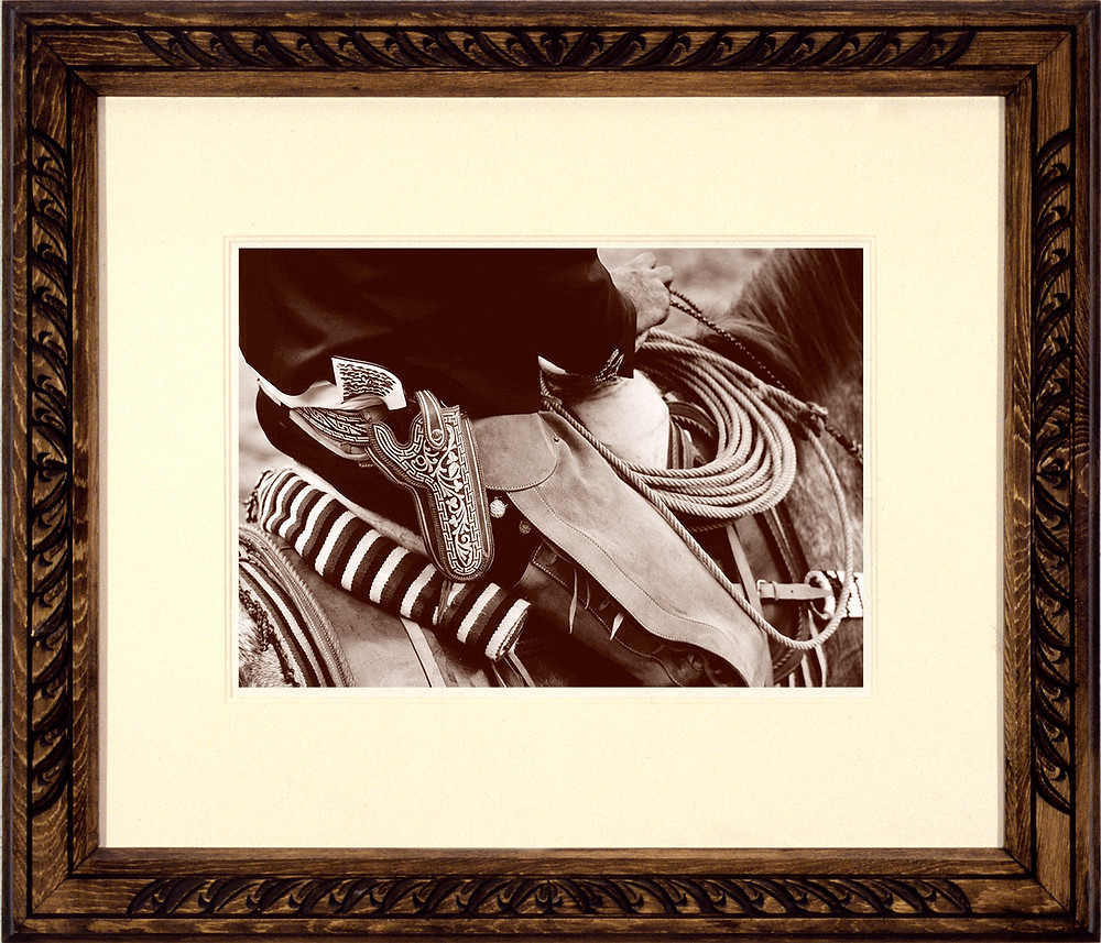 Al Rendon's father was a woodworker and woodcarver. He prepared this frame for the sepia-toned print of his son's 'El Charro' photo.