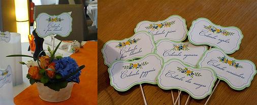 Marque-table dîner de mariage champêtre étiquette découpée à piquer bouquet fleurs nature