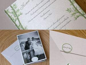 carte remerciements, mariage, photo, bambous, oiseaux