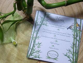 Menu dîner mariage individuel bambous oiseaux