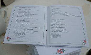 Livret de messe, cérémonie, mariage, reliure ruban, champêtre, coquelicot