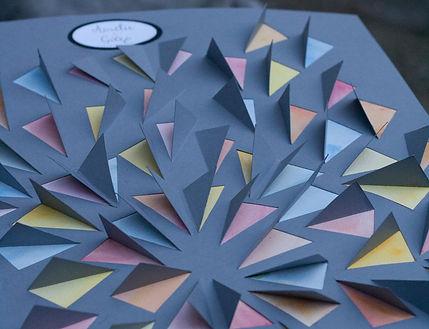 Livre d'or, guest book, mariage, souvenirs, signatures, triangles découpés, aquarelle