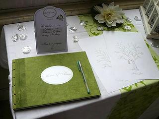 Livre d'or, mariage, souvenirs, reliure à la Japonaise, ruban, étiquette personnalisée, oiseaux, bambous