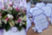 Marque-table dîner de mariage étiquette découpée à poser en chevalet fleur relief