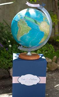 Urne boîte cadeaux mariage globe terrestre invitation au voyage boîte aux lettres