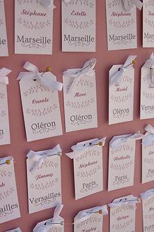 plan de table, mariage, étiquettes, escort cards, ruban, épingles, shabby chic
