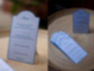 Menu dîner mariage étiquette découpée en chevalet