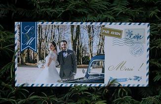carte remerciements, mariage, photo, photographie, voyage, vintage, portraits, avion