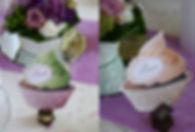Marque-table dîner de mariage étiquette découpée cup-cake
