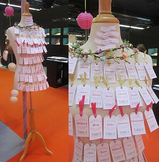 plan de table, mariage, étiquettes, escort cards, ruban, mannequin