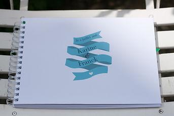 Livre d'or, mariage, souvenirs, spirales, ruban, étiquette personnalisée