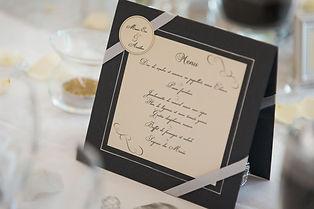 Menu dîner mariage double face en chevalet ruban étiquette