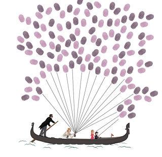 arbre empreintes, souvenirs, cérémonie, mariage, encre, illustration