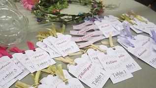 plan de table, mariage, étiquettes, escort cards, ruban