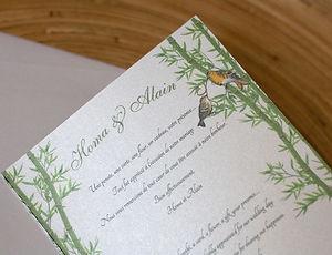 carte remerciements, mariage, bambous, oiseaux