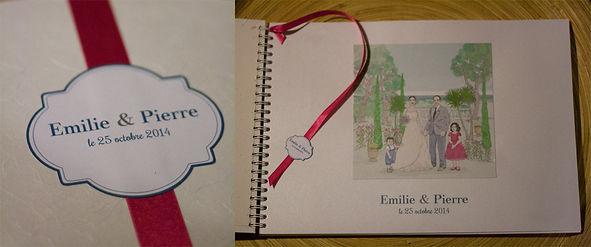 Livre d'or, mariage, souvenirs, spirales, ruban, étiquette personnalisée, illustration, portraits