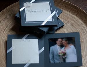 carte remerciements, mariage, photo, rubans