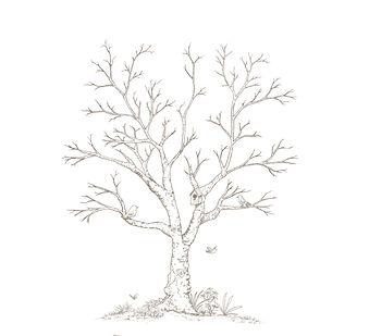 arbre empreintes, souvenirs, cérémonie, mariage, encre, illustration, oiseaux, cabane