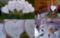 Marque-table dîner de mariage étiquette découpée à piquer coeur rayures