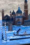Urne boîte cadeaux mariage décor découpé éclairé Venise gondole portraits des mariés