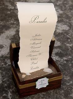 plan de table, mariage, coffre trésor, parchemin, sable, coquillages, île, voyage