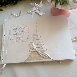 Livre d'or, mariage, souvenirs, reliure japonaise, ruban, étiquette personnalisée, dentelles, rubans lacés