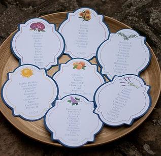plan de table, mariage, étiquettes, à assembler, Sud, illustrations