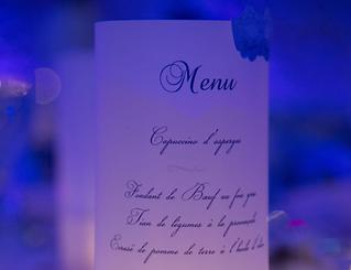Menu dîner mariage photophore papier calque imprimé