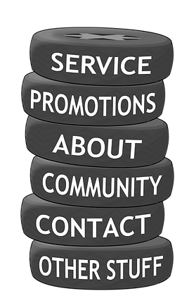 Links to more information on service, promotions, about, community,contact