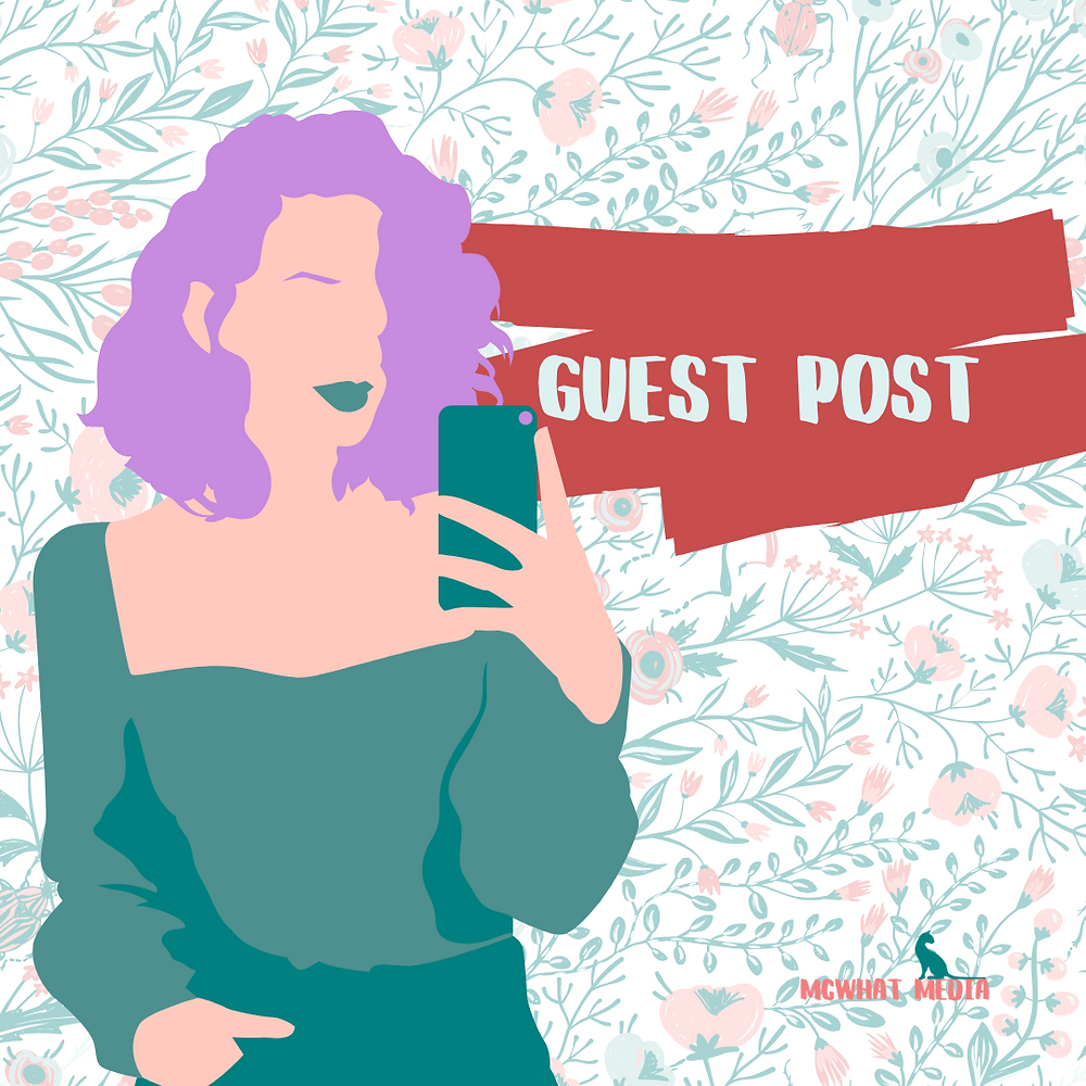 a cartoon woman takes a selfie, she has purple hair and turquoise clothing. The background has drawings of foilage and flowers