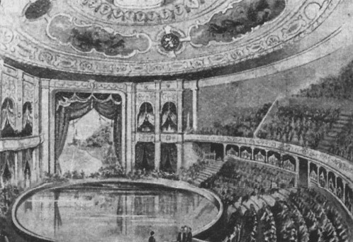 Drawing showing the hippodrome pool under a domed ceiling with seats surrounding in a ring formation