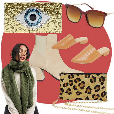 A collection of items creating a fashion collage including a gold glitter clutch bag and green scarf